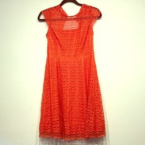 Coral Jessica Simpson Open Back Lace Dress